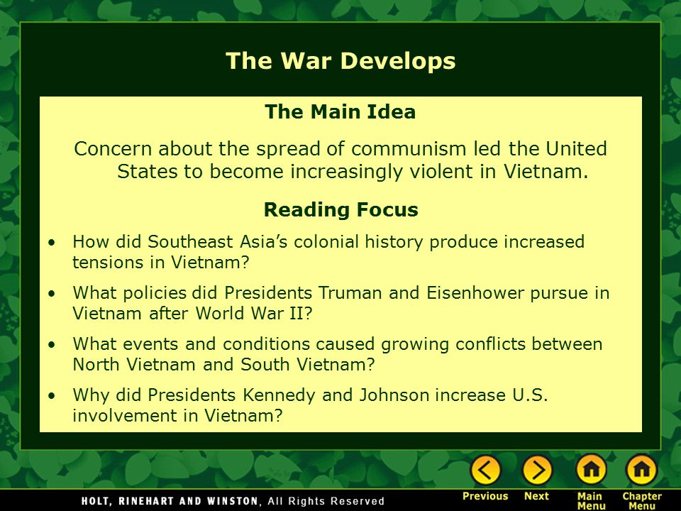 an analysis of the history of united states involvement in the vietnam war The vietnam war lesson plan robert m pobjecky objectives 1) the united states involvement in vietnam stretched over three decades 2) president johnson continued to ratcheted up our troop commitment until we had over.