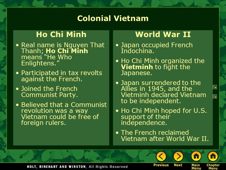 Colonial Vietnam Ho Chi Minh World War II