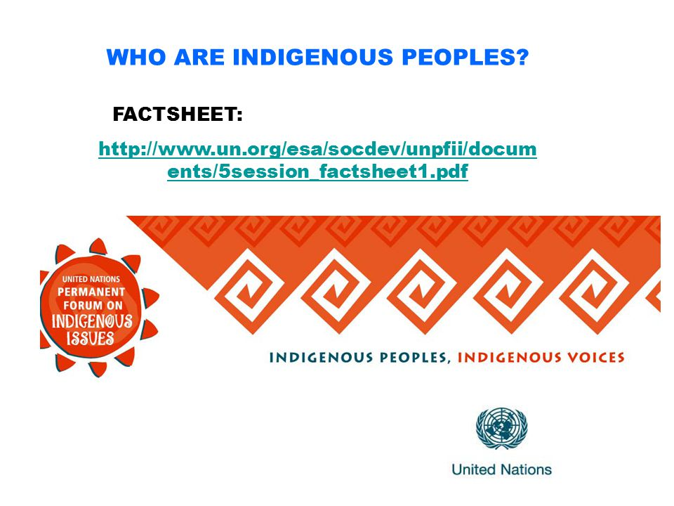 WHO ARE INDIGENOUS PEOPLES