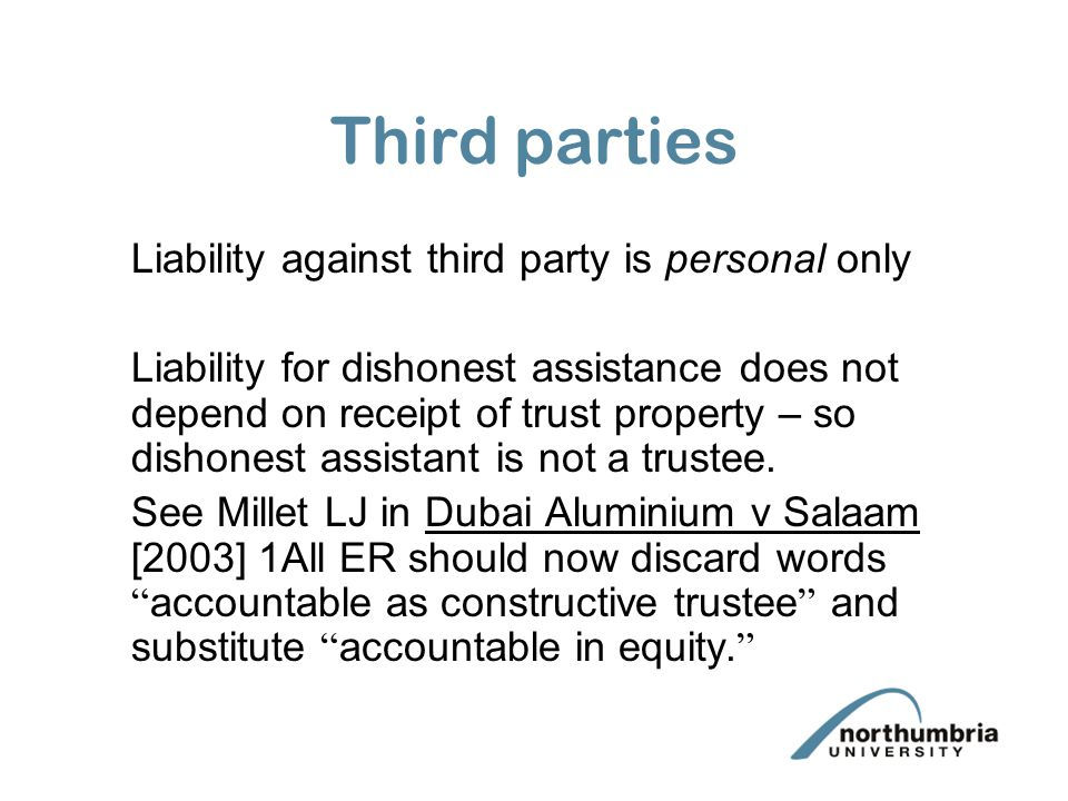 Third parties Liability against third party is personal only