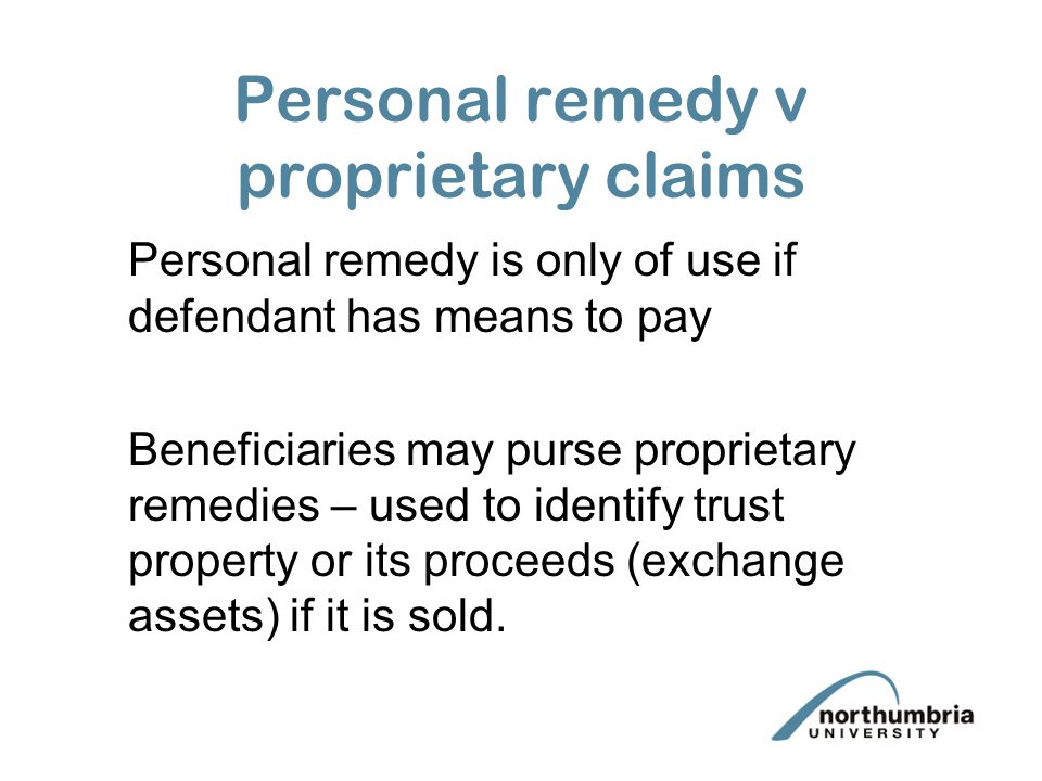 Personal remedy v proprietary claims
