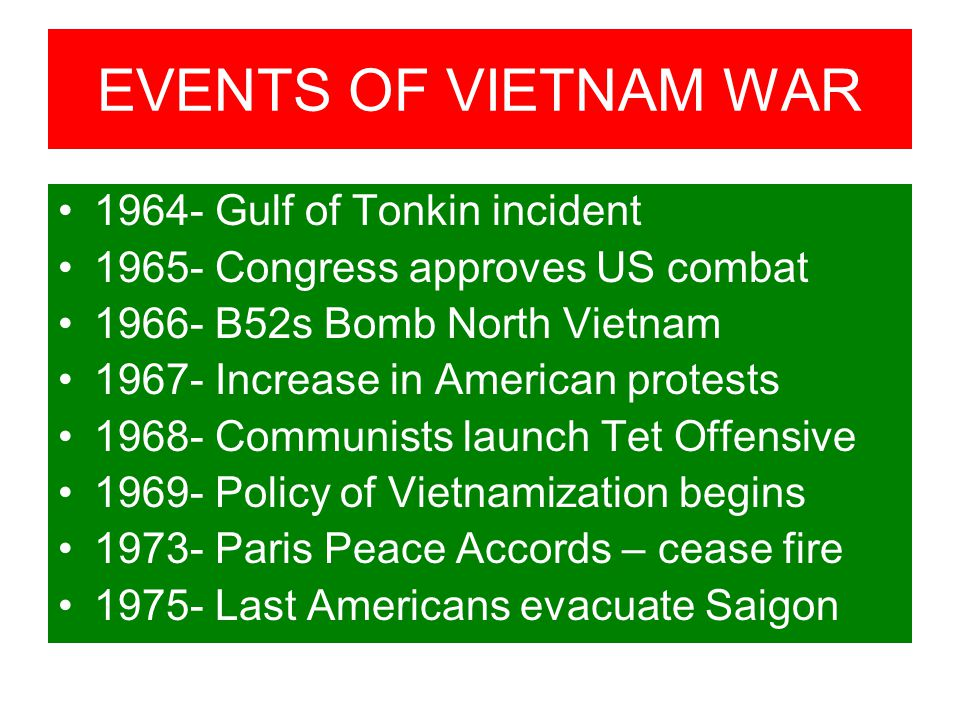 EVENTS OF VIETNAM WAR 1964- Gulf of Tonkin incident