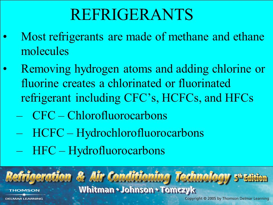 REFRIGERANTS Most refrigerants are made of methane and ethane molecules.
