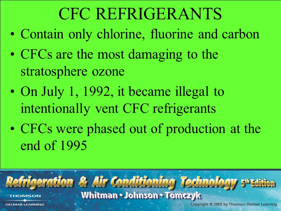 CFC REFRIGERANTS Contain only chlorine, fluorine and carbon