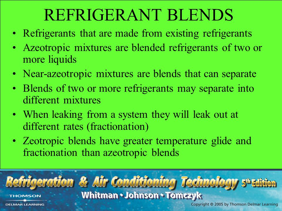 REFRIGERANT BLENDS Refrigerants that are made from existing refrigerants. Azeotropic mixtures are blended refrigerants of two or more liquids.