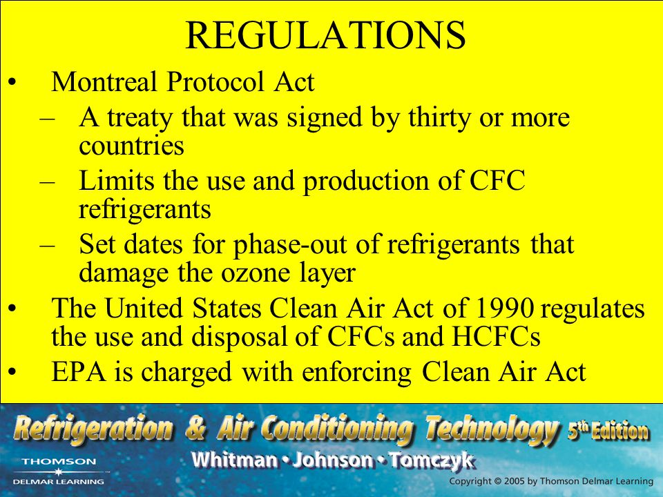 REGULATIONS Montreal Protocol Act