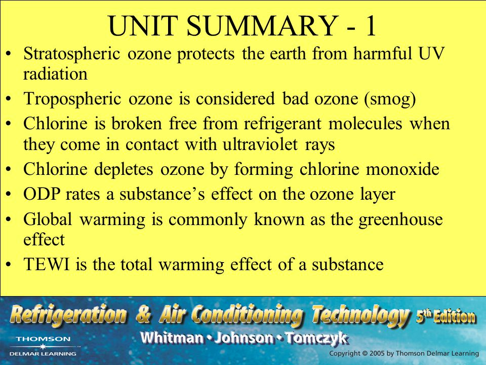 UNIT SUMMARY - 1 Stratospheric ozone protects the earth from harmful UV radiation. Tropospheric ozone is considered bad ozone (smog)