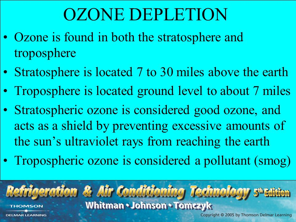 OZONE DEPLETION Ozone is found in both the stratosphere and troposphere. Stratosphere is located 7 to 30 miles above the earth.