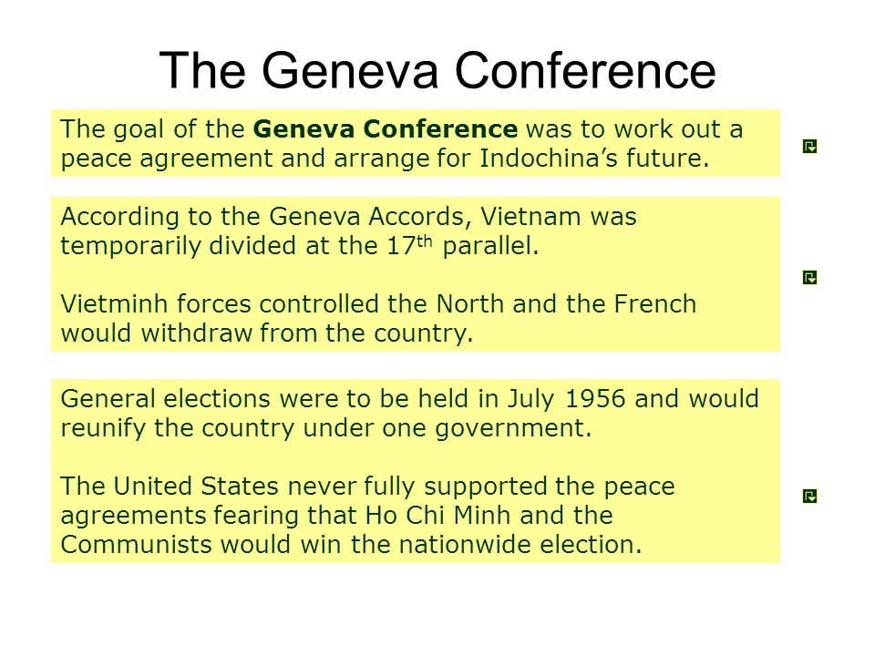 The Geneva Conference The goal of the Geneva Conference was to work out a peace agreement and arrange for Indochina's future.