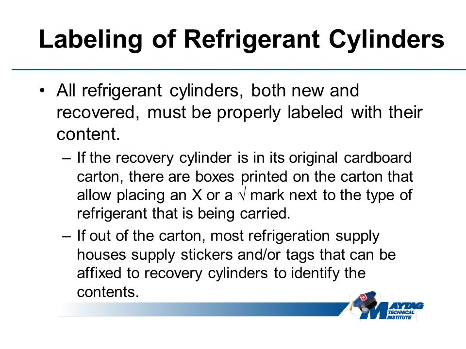 Labeling of Refrigerant Cylinders