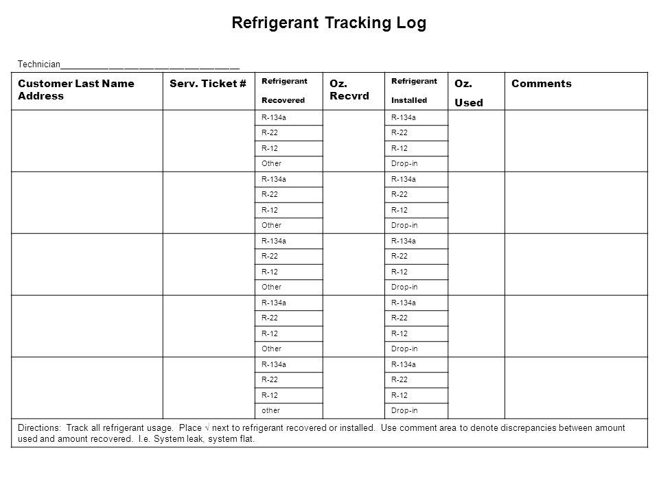 Refrigerant Tracking Log