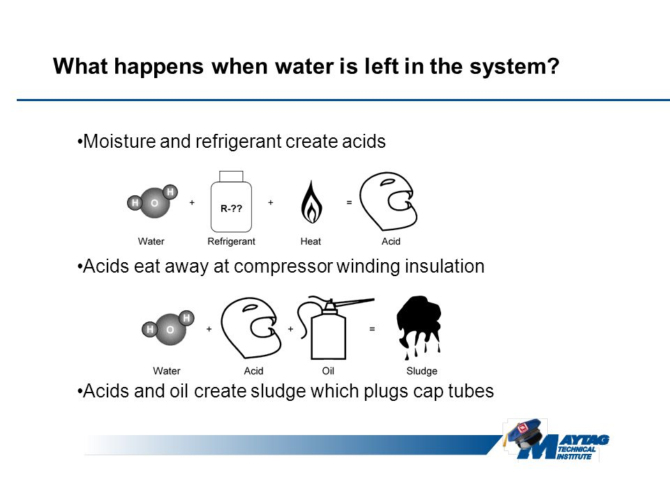 What happens when water is left in the system