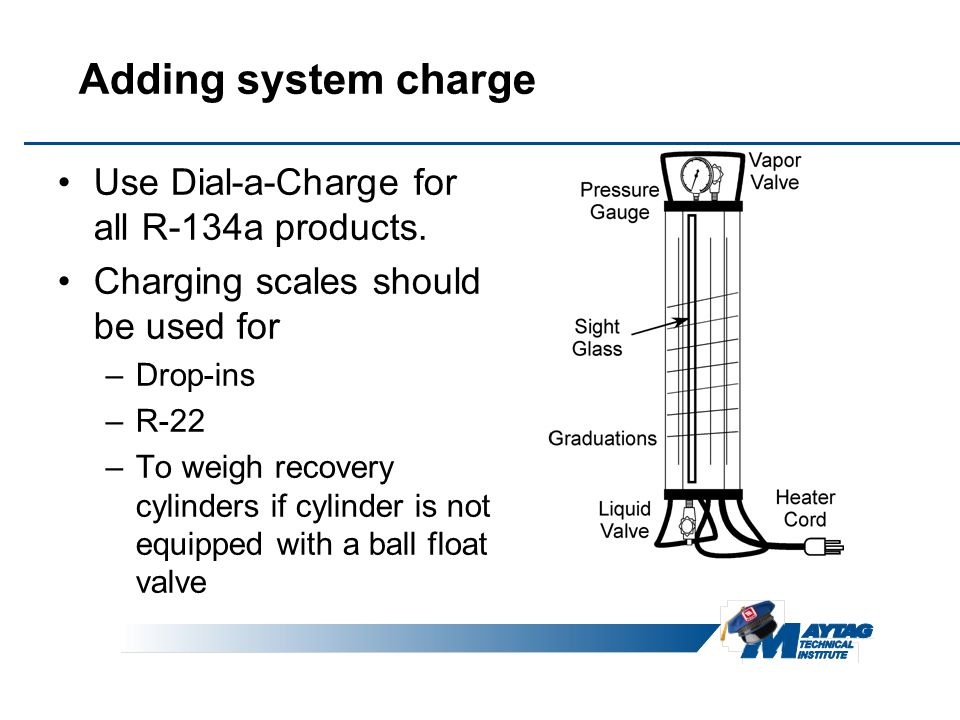 Adding system charge Use Dial-a-Charge for all R-134a products.