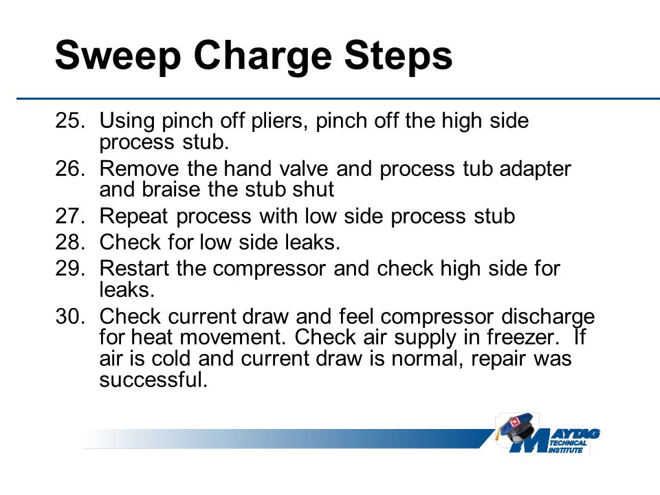 Sweep Charge Steps Using pinch off pliers, pinch off the high side process stub.