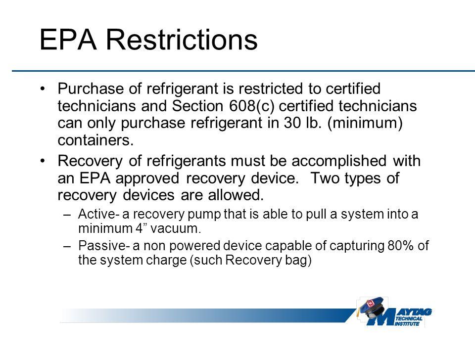 EPA Restrictions