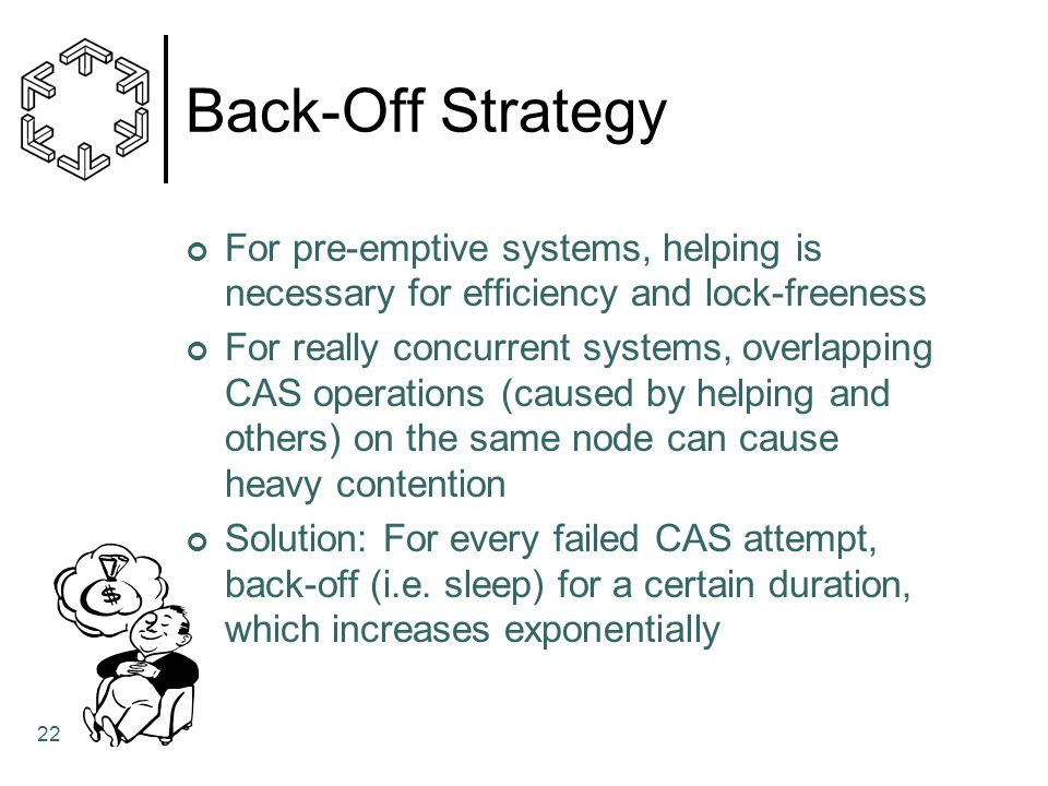 Back-Off Strategy For pre-emptive systems, helping is necessary for efficiency and lock-freeness.