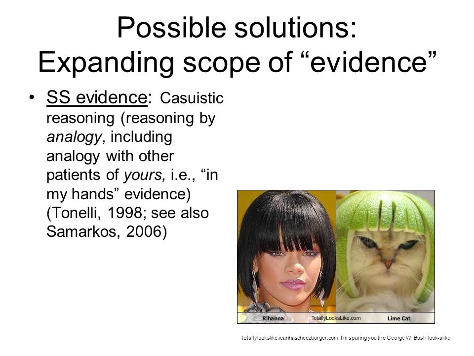 Possible solutions: Expanding scope of evidence
