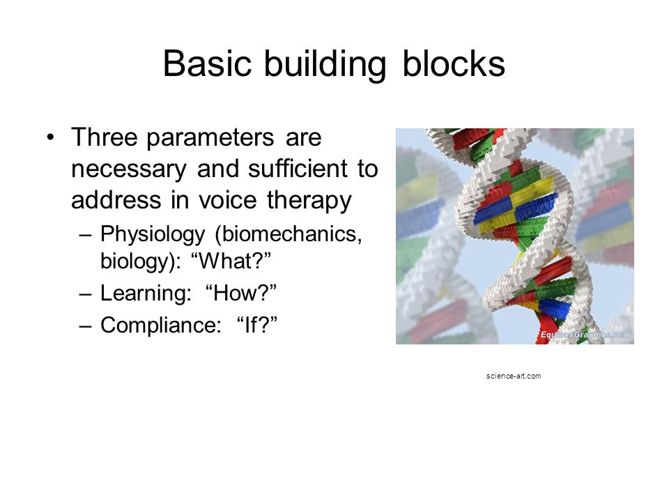 Basic building blocks Three parameters are necessary and sufficient to address in voice therapy. Physiology (biomechanics, biology): What