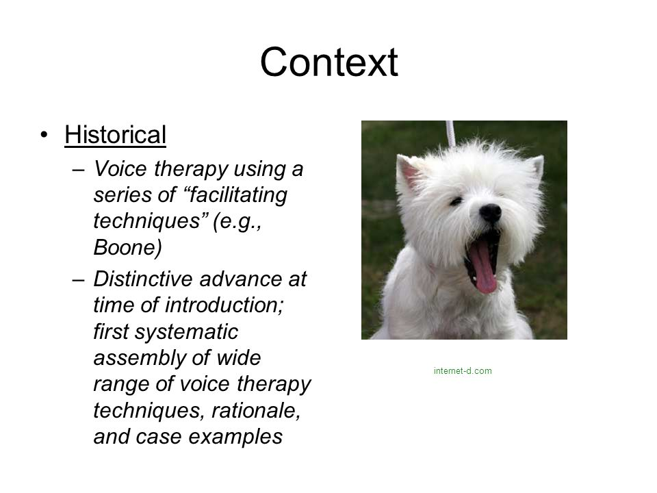 Context Historical. Voice therapy using a series of facilitating techniques (e.g., Boone)