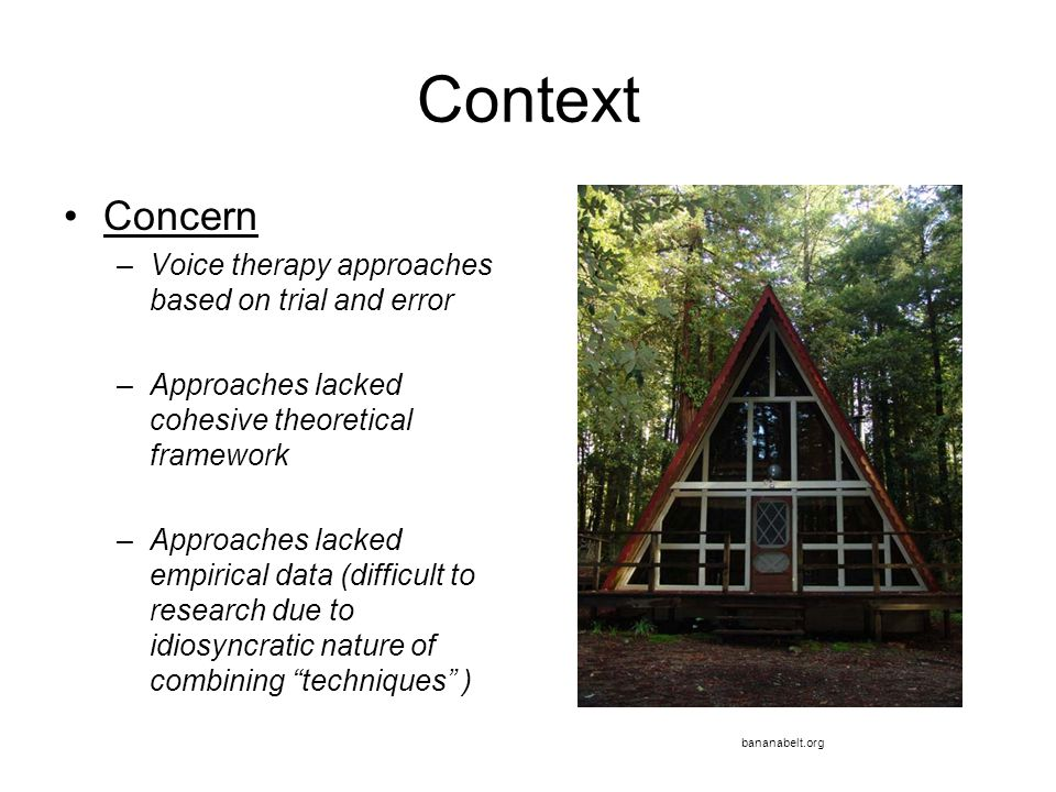 Context Concern Voice therapy approaches based on trial and error