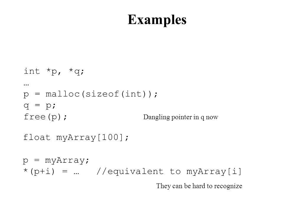 Examples int *p, *q; … p = malloc(sizeof(int)); q = p; free(p);