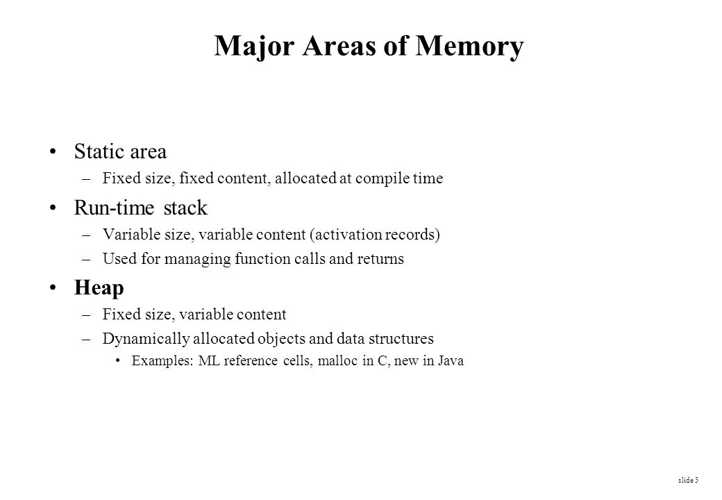 Major Areas of Memory Static area Run-time stack Heap