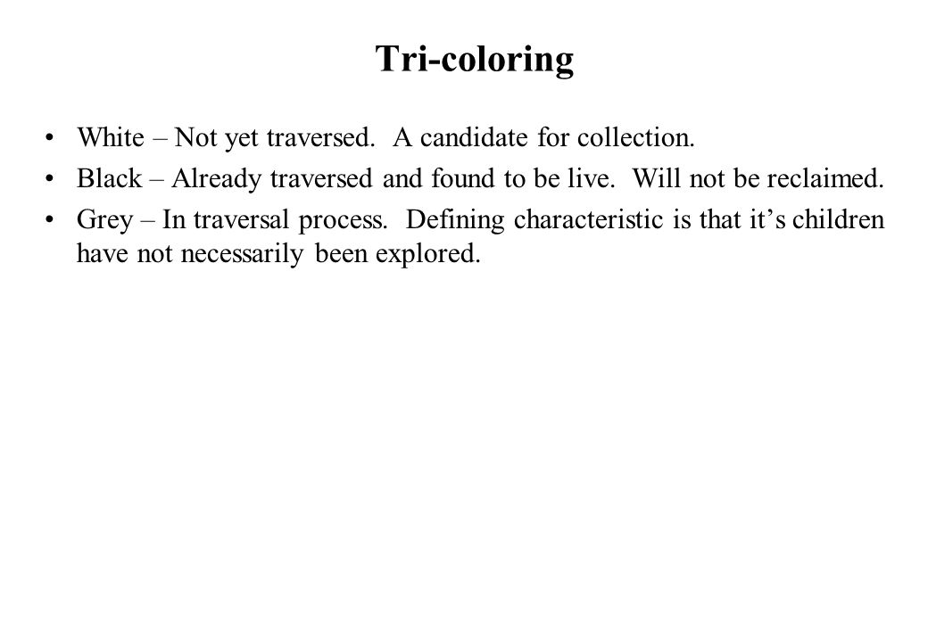 Tri-coloring White – Not yet traversed. A candidate for collection.