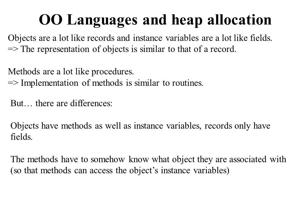 OO Languages and heap allocation
