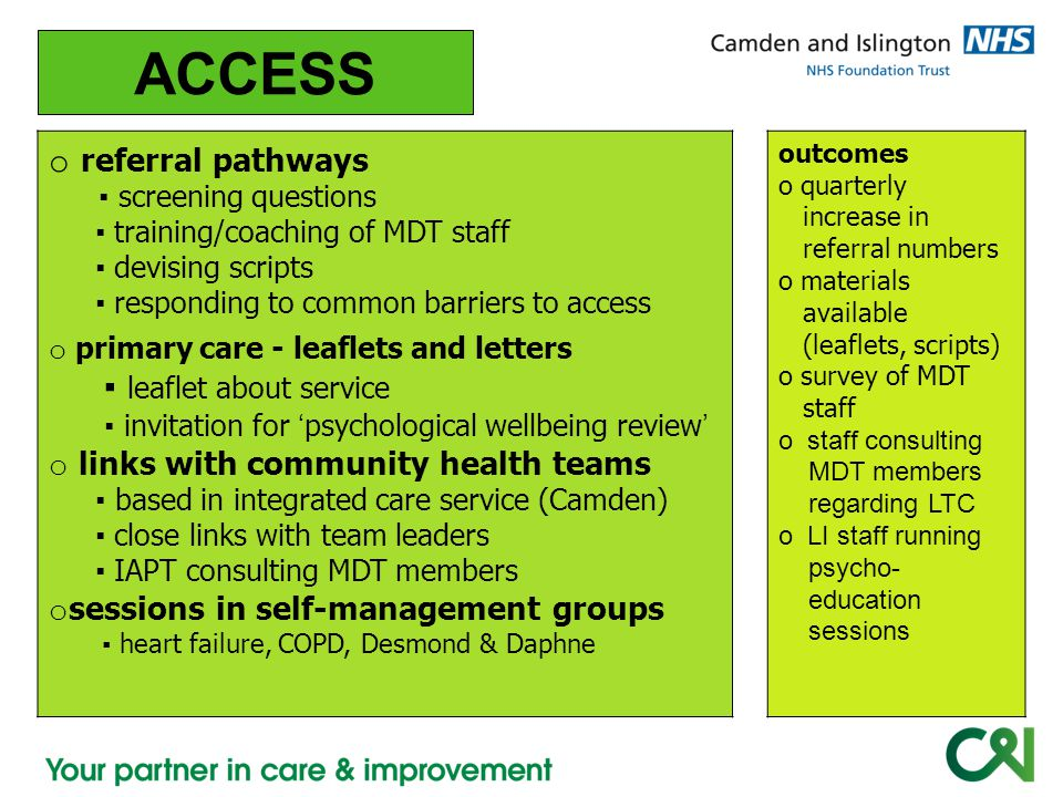 ACCESS referral pathways ▪ leaflet about service