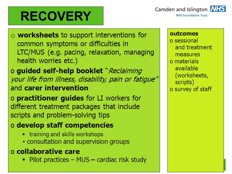 RECOVERY worksheets to support interventions for