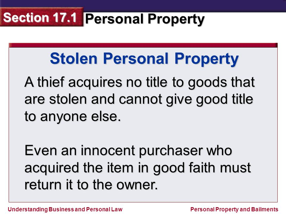 Stolen Personal Property