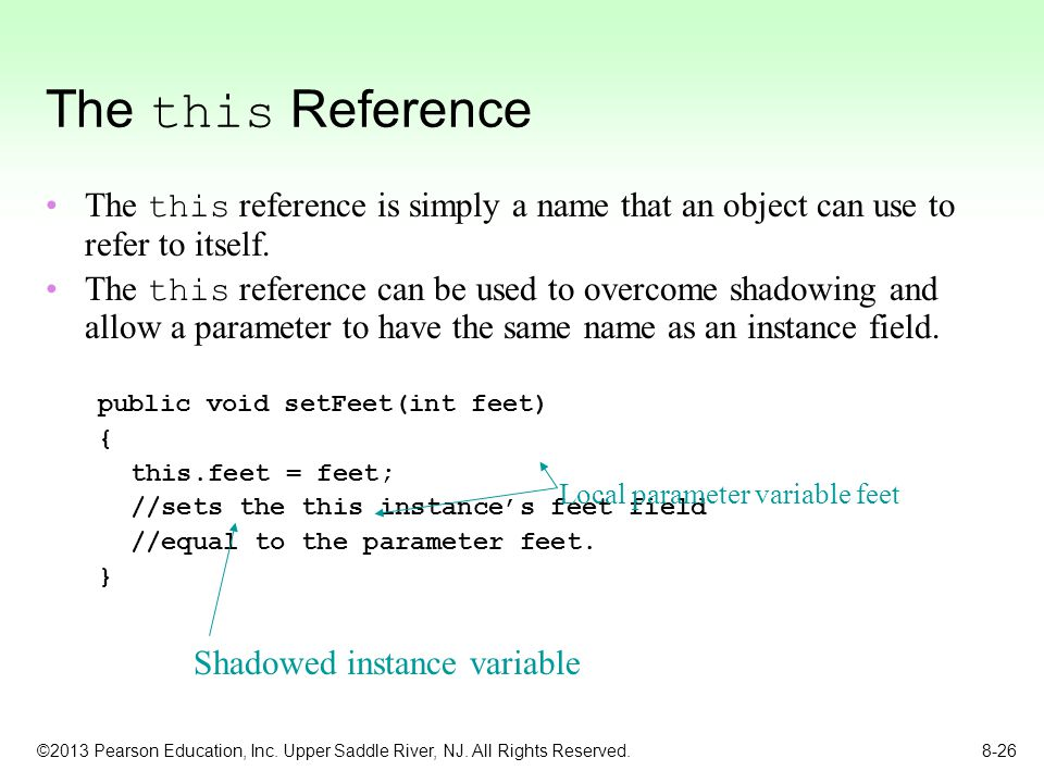 The this Reference The this reference is simply a name that an object can use to refer to itself.