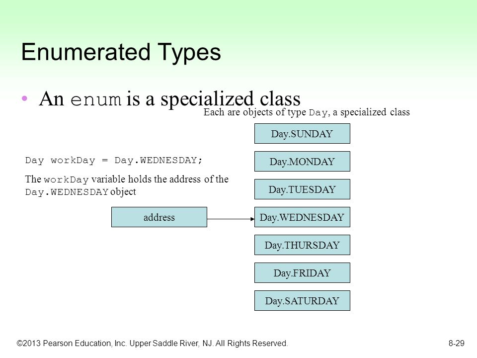 Enumerated Types An enum is a specialized class