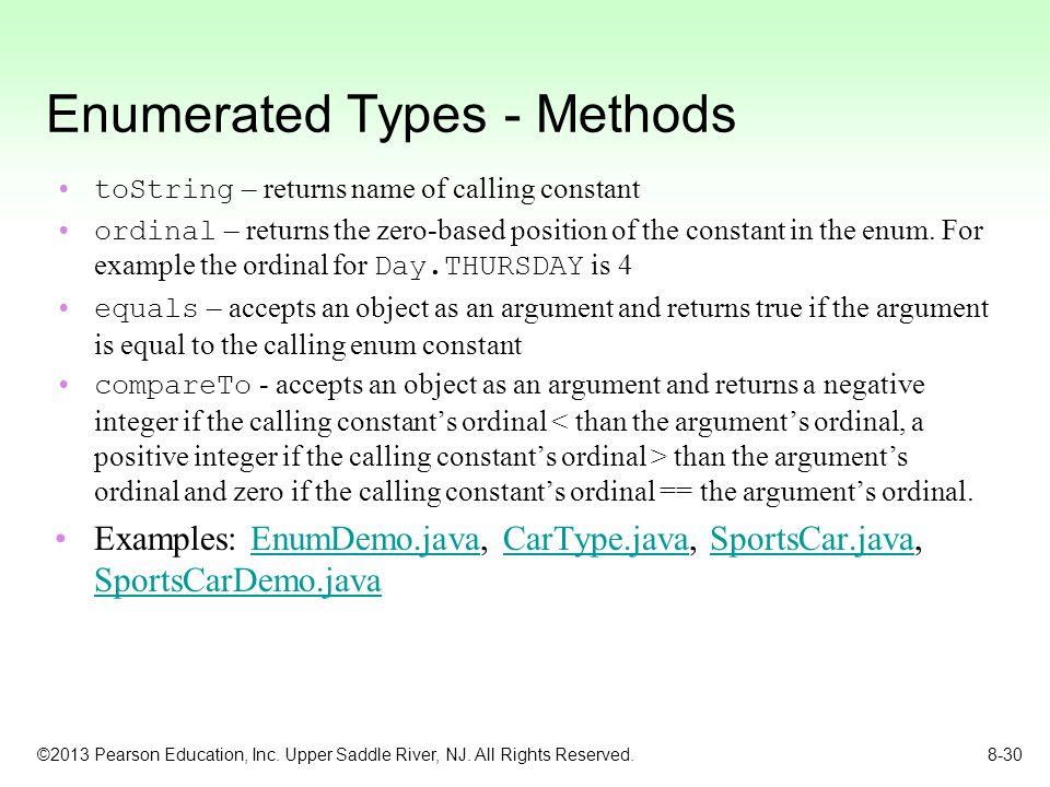 Enumerated Types - Methods