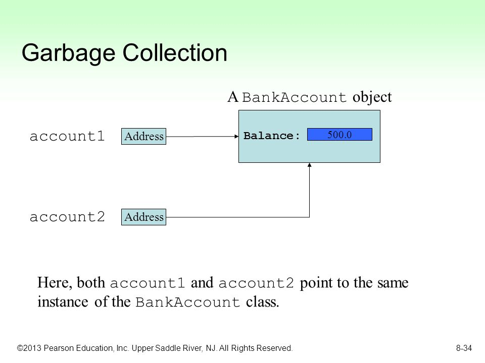 Garbage Collection A BankAccount object account1 account2