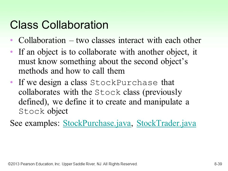 Class Collaboration Collaboration – two classes interact with each other.