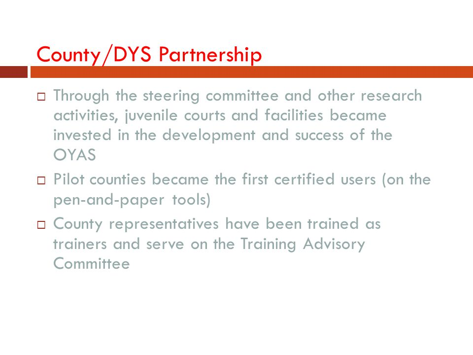 County/DYS Partnership