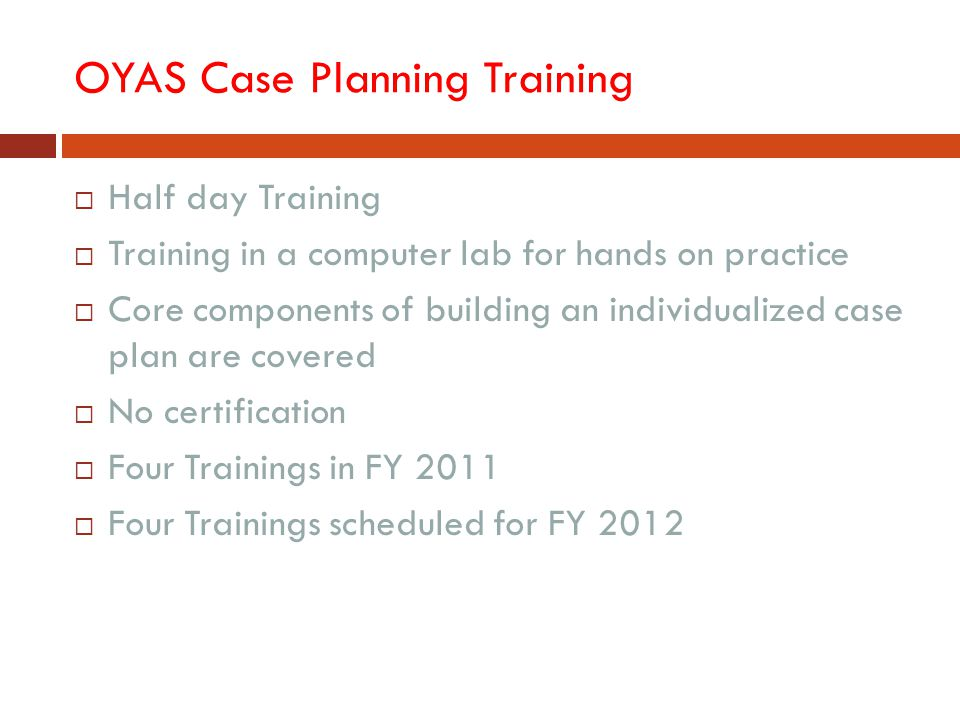 OYAS Case Planning Training