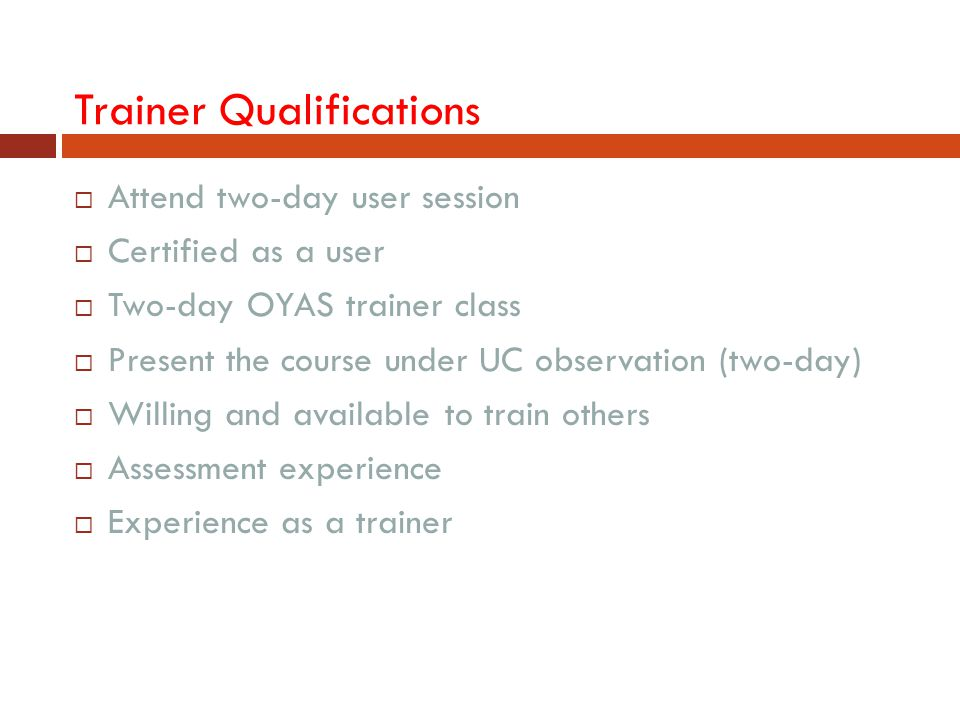 Trainer Qualifications