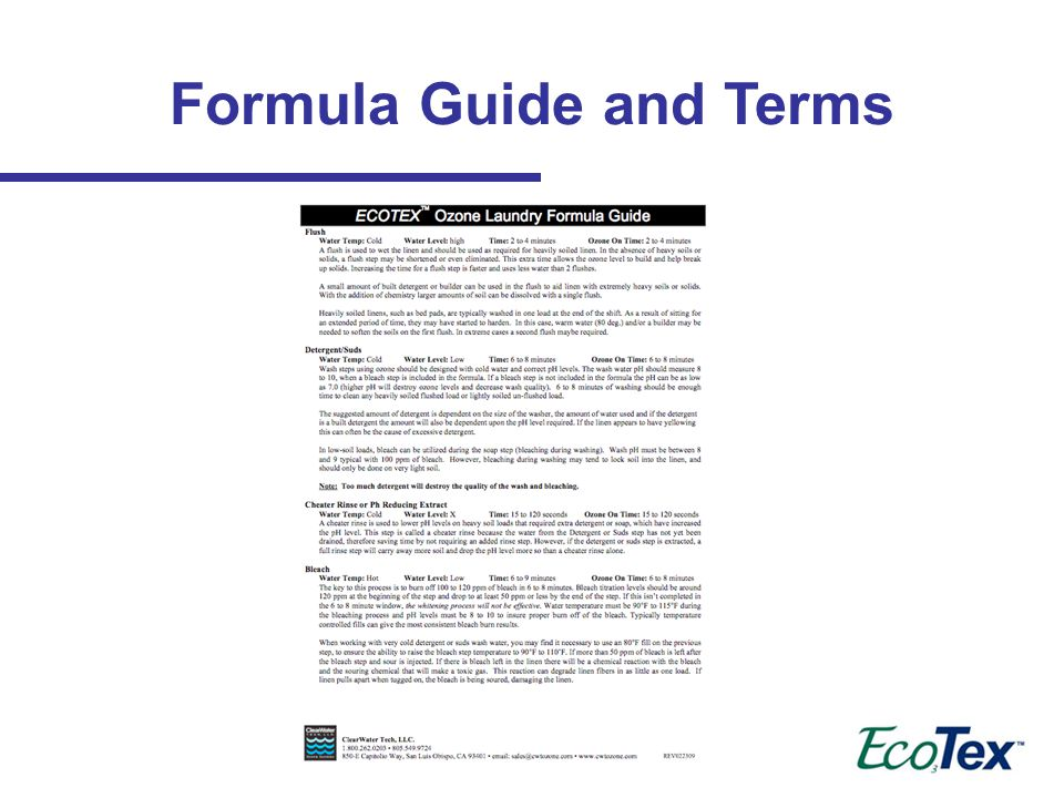Formula Guide and Terms