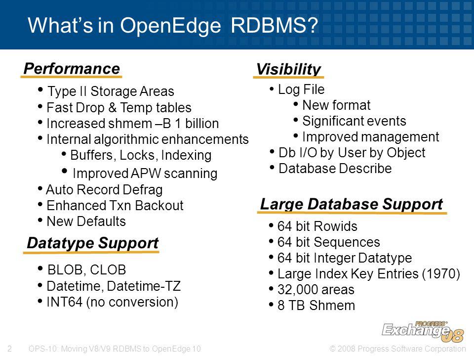 What's in OpenEdge RDBMS