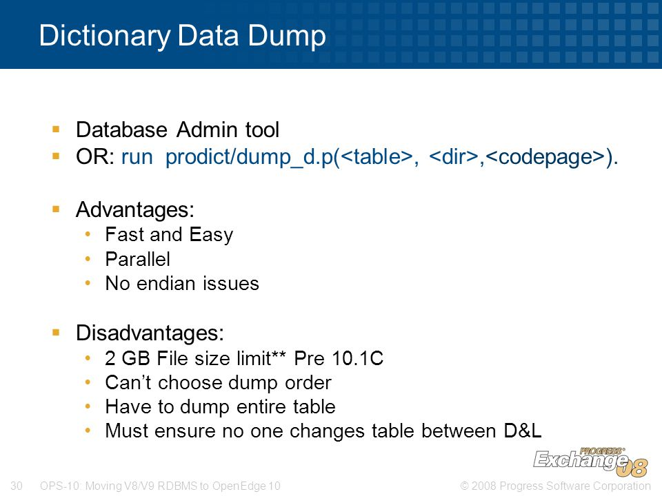 Dictionary Data Dump Database Admin tool