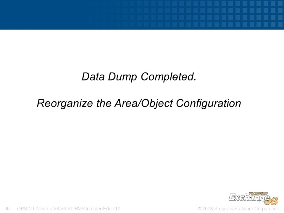Reorganize the Area/Object Configuration