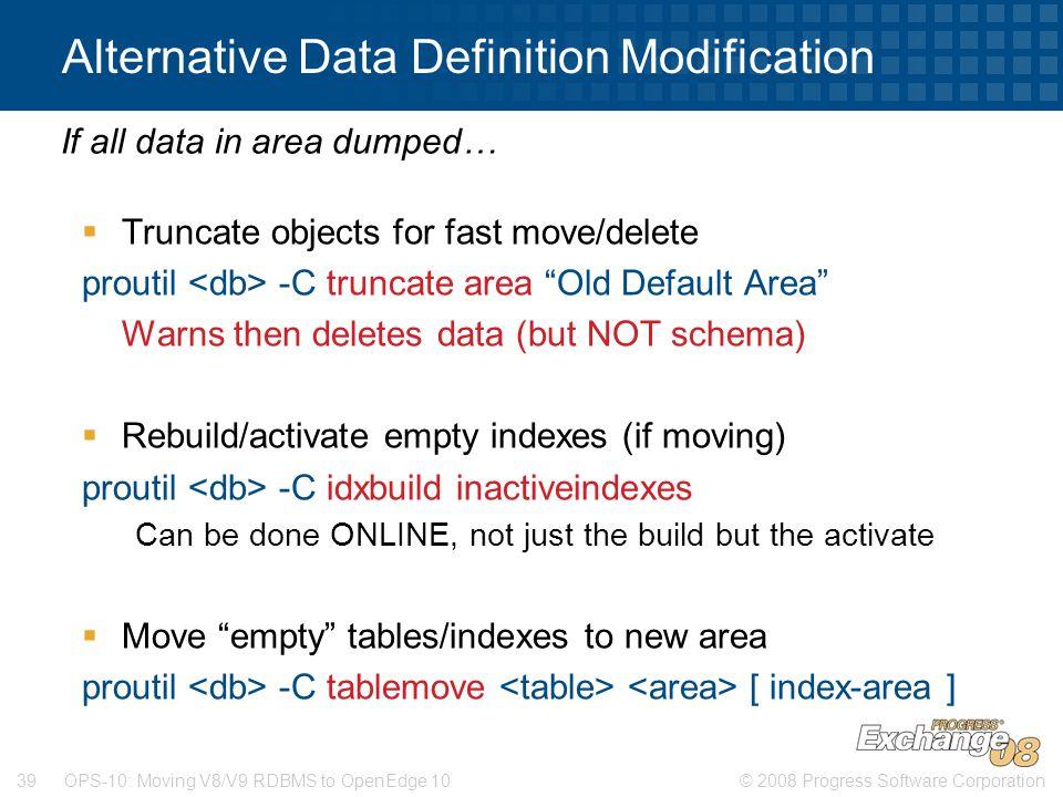 Alternative Data Definition Modification