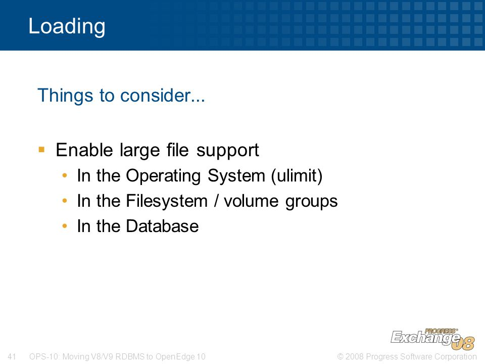 Loading Things to consider... Enable large file support
