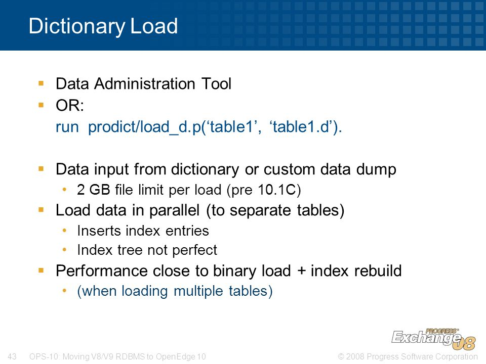 Dictionary Load Data Administration Tool OR: