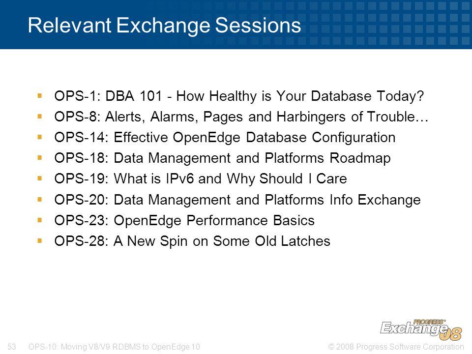 Relevant Exchange Sessions
