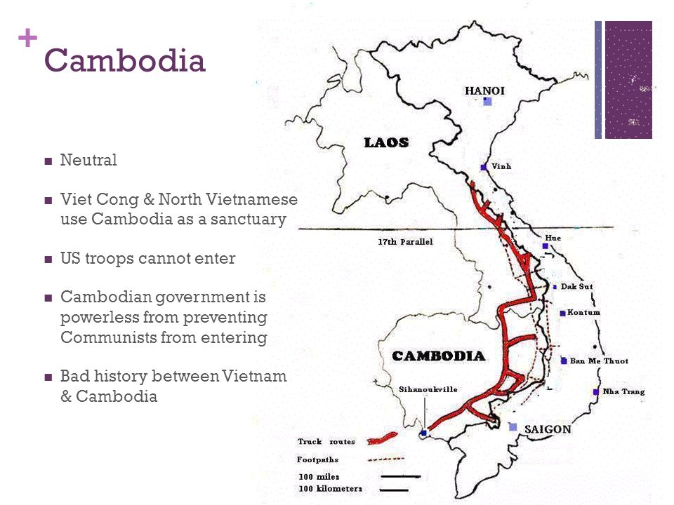 Cambodia Neutral. Viet Cong & North Vietnamese use Cambodia as a sanctuary. US troops cannot enter.