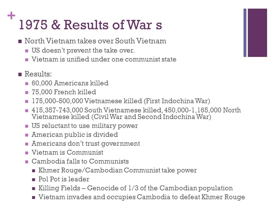 1975 & Results of War s North Vietnam takes over South Vietnam