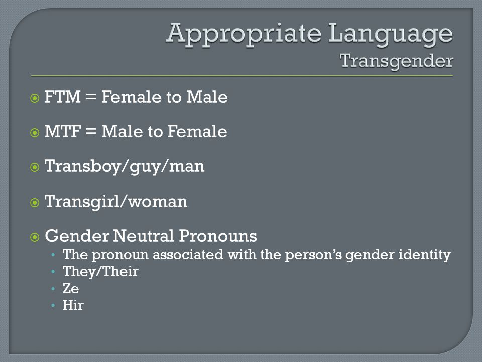 Appropriate Language Transgender
